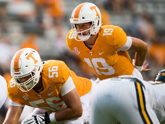 Tennessee quarterback Keller Chryst (19) during the Tennessee Volunteers' game against ETSU in Neyland Stadium on Saturday, Sept. 8, 2018.