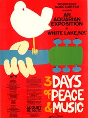 "The poster for the 1969 Woodstock Music and Art Fair is included in the ""Technicolor Dreaming: Psychedelic Posters from the Rock and Roll Hall of Fame"" at the Farmington Museum at Gateway Park."