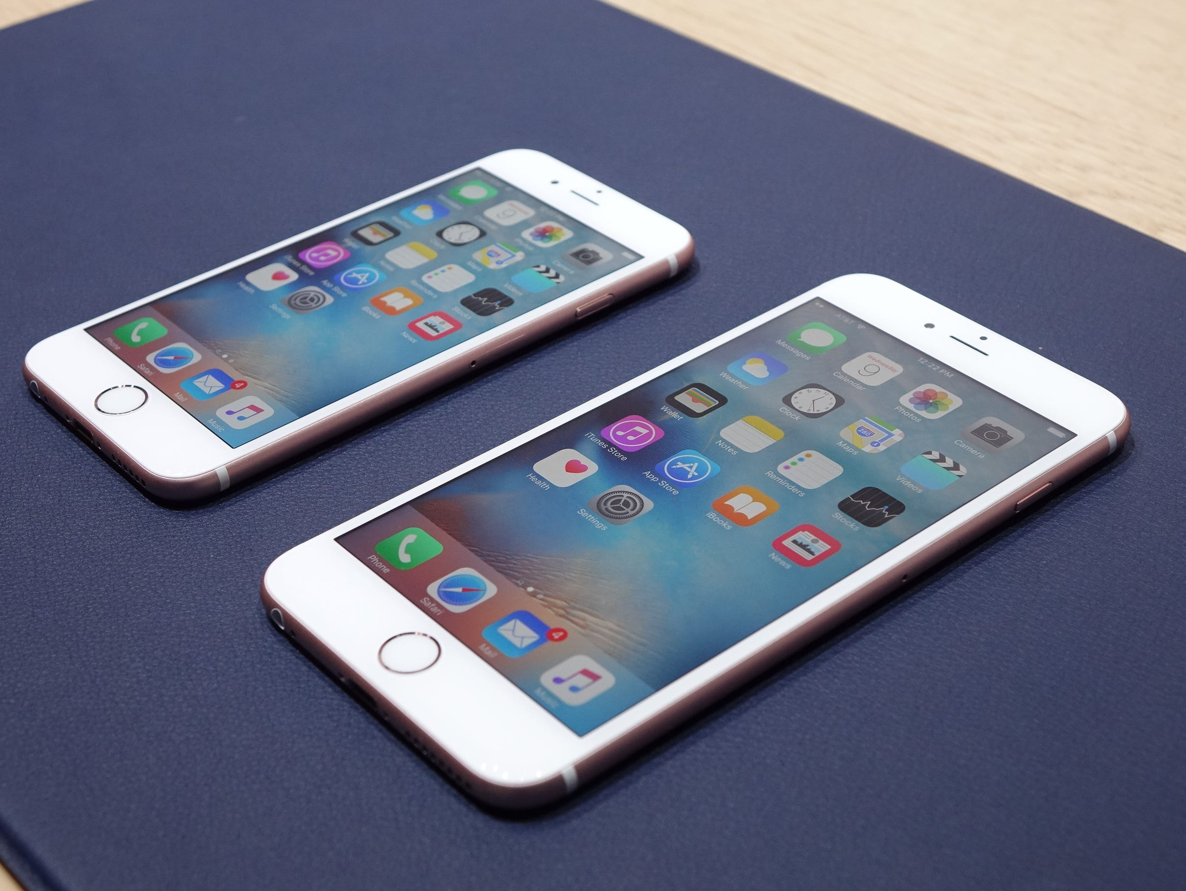 the iPhone 6S and 6S Plus on display during Apple's event.