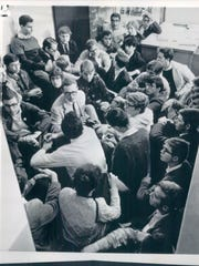 An Ann Arbor draft board sit-in had an impact, in this undated photo.