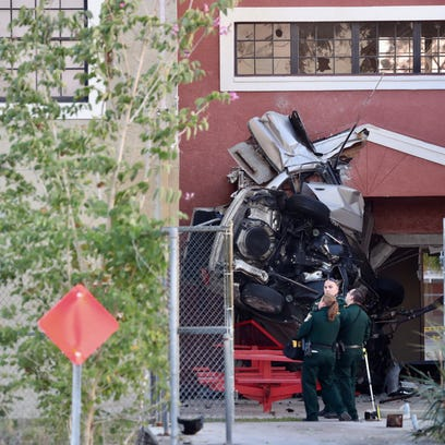 A car crashed into Evangelical Christian School on