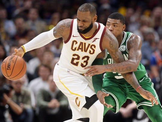 Boston Celtics guard Marcus Smart (36) defends Cleveland