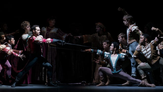 """Cincinnati Ballet dancers are seen in a climactic scene from a 2013 production of Victoria Morgan's """"Romeo & Juliet."""" The company will present a revised version of the ballet Oct. 26-29 at Music Hall."""