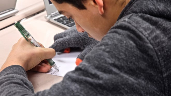 A student at Desert Hot Springs High School takes a final exam on Wednesday, Dec. 16, 2015.  Student information including test scores may be released as part of ongoing litigation against the California Department of Education alleging that the CDE has failed to provide adequate services to special education students.