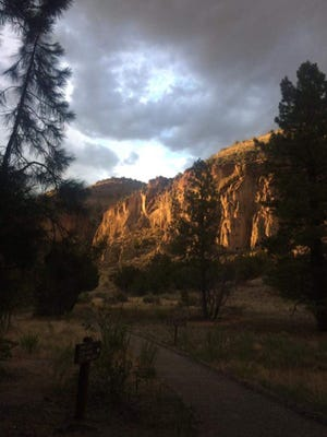 An evening on the Main Loop Trail at Bandelier National Monument.