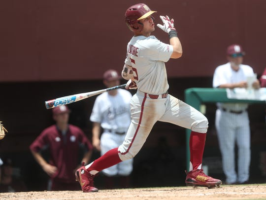 FSU's Mike Salvatore hits a single against Mississippi