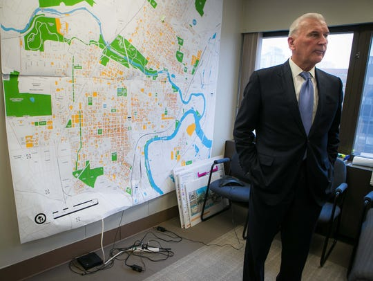 "Mayor Mike Purzycki in his West Center City ""war room."""