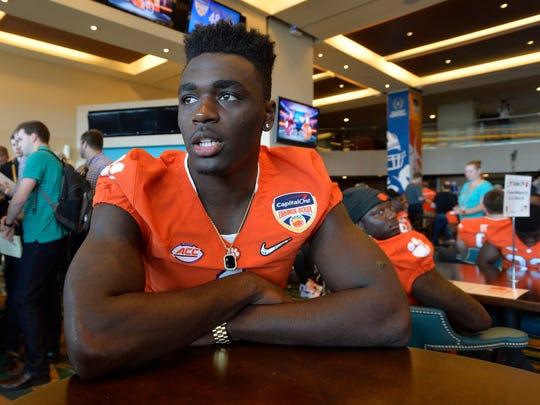Clemson safety Jayron Kearse answers questions during the Orange Bowl Media Day Tuesday, December 29, 2015, at Sun Life Stadium in Miami Gardens, Fla.