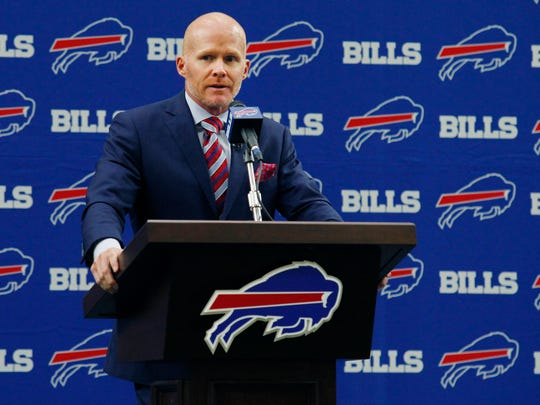 New Bills head coach Sean McDermott didn't have much to say about the team's quarterback situation.