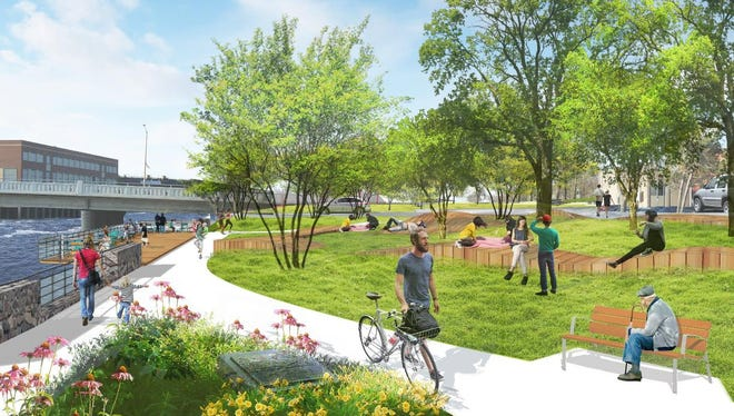 An illustration of proposed changes to Wisconsin Rapids' riverfront.