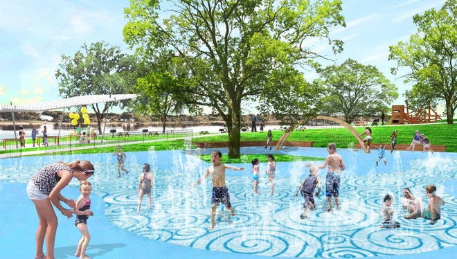 An illustration of proposed changes to Wisconsin Rapids' riverfront, including a possible splash pad in Demitz Park.