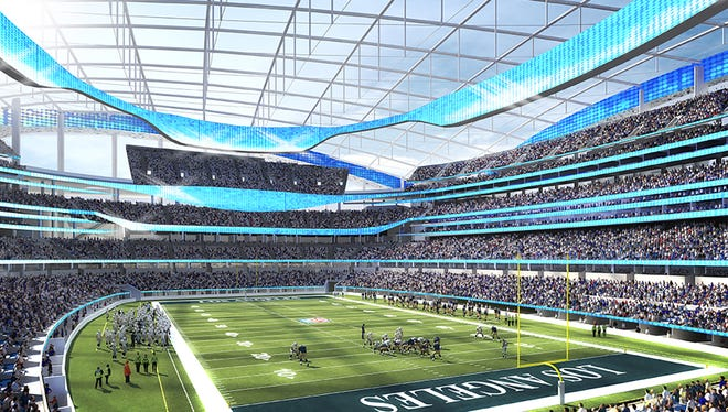 This undated rendering provided by HKS Sports & Entertainment shows a proposed NFL football stadium in Ingewood, Calif. During an NFL owners meeting Tuesday, Jan. 12, 2016, in Houston the owners voted to allow the St. Louis Rams to move to a new stadium just outside Los Angeles, and the San Diego Chargers will have an option to share the facility. The stadium would be at the site of the former Hollywood Park horse-racing track.