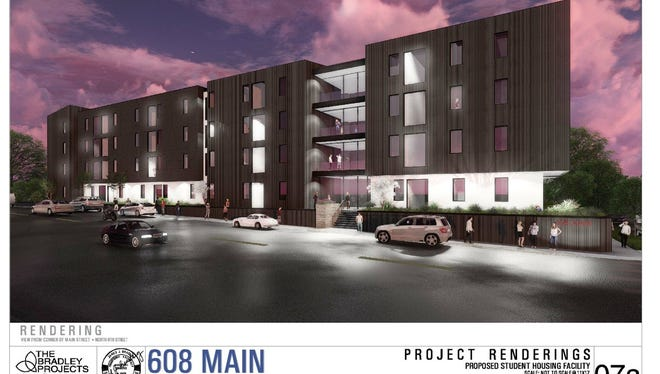 An artist's rendering shows the planned 608 Main student housing complex for downtown Clarksville.