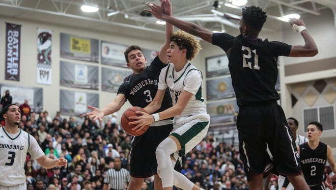 Chino Hills' LaMelo Ball goes for the basket against Woodcreek on Wednesday, December 28, 2016 during the Rancho Mirage Holiday Invitational at Rancho Mirage High School.