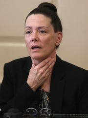 Former Wharton elementary school teacher Virginia Vertetis describes during direct testimony in Morris County Superior Court how she was choked by Patrick Gilhuley the night of the shooting. Vertetis says she fatally shot boyfriend Gilhuley to death as he tried to beat and choke her at her Mount Olive home. March 23, 2017, Morristown, NJ