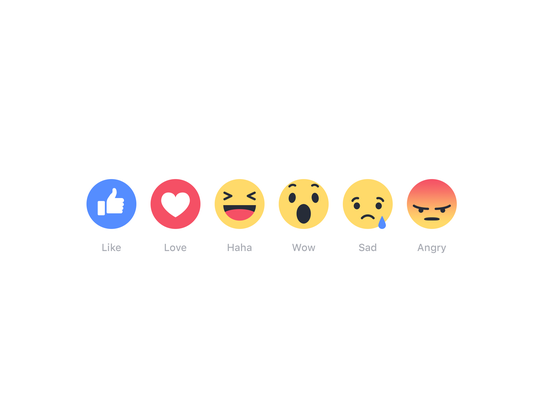 The five emotions on Facebook: Like, love, haha, wow,
