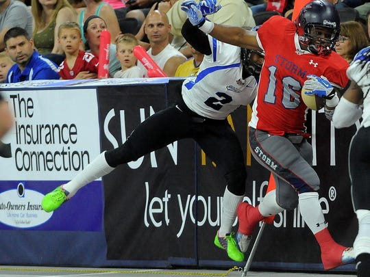 Sioux Falls Storm's Rolandan Finch II escapes from Cedar Rapids' Arius Wright during the United Conference Championship at the Sanford Premier Center on Sat., June 27, 2015.
