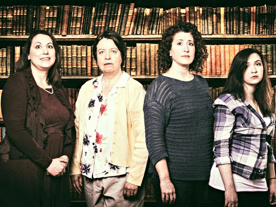 """Susand Sherif, Cloris Award nominee Mary Bricker, Becky Scholtec and Cloris Award winner Tiffany Flory portrayed a feuding family in Tallgrass Theatre's production of """"Independence"""" in West Des Moines."""