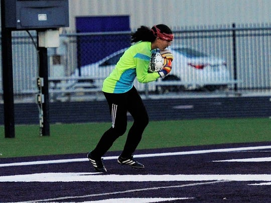 Wylie goalkeeper Arianna Taylor (1) holds the ball after making a save during the 2-1 loss to Odessa Permian on Jan. 26, 2018.