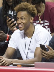 Romeo Langford, an Indiana recruiting target, during the annual Hoosier Hysteria at Assembly Hall, Bloomington, Saturday, Oct. 21, 2017. T