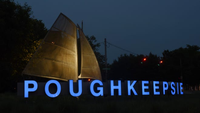 "The ""Poughkeepsie"" sign located on the Arterial east of the Mid-Hudson Bridge.."