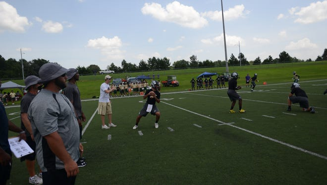 South Side, seen here in a picture from a 7-on-7 camp in July, will play South Gibson this week.