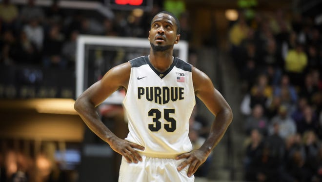 Purdue's Rapheal Davis looks up at the scoreboard Friday, November 13th, 2015 at Mackey Arena in West Lafayette. The Boilermakers won 81-40.