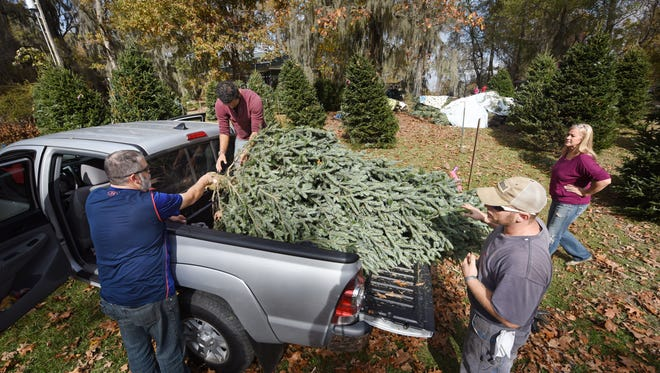 Ben Clark, second from left, and Andrew Stewart, second from right, help customers Jamie and Angie Grissom of Brandon load a new Christmas tree into their pickup on Friday at The Resting Place Lowery Tree Farm in Flora.
