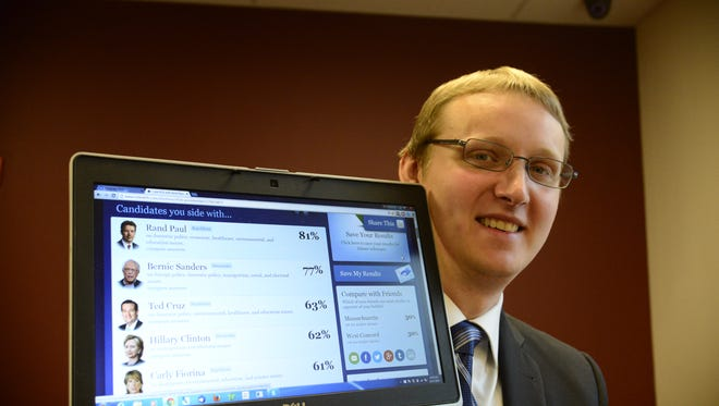 Libertarian James Cleaveland holds up his laptop with the results of an online survey that shows his views overlap with presidential candidates Rand Paul and Bernie Sanders outside a courtroom in Keene, N.H., on Dec. 17.