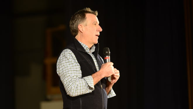 Vermont Lt. Gov. Phil Scott, a Republican, speaks at a John Kasich presidential campaign event on Saturday in Colchester.