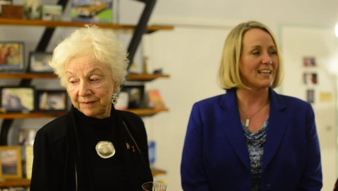 Former Vermont Gov. Madeleine Kunin, left, and EMILY's List President Stephanie Schriock attend a Hillary Clinton presidential campaign event at a Burlington home on Wednesday evening.