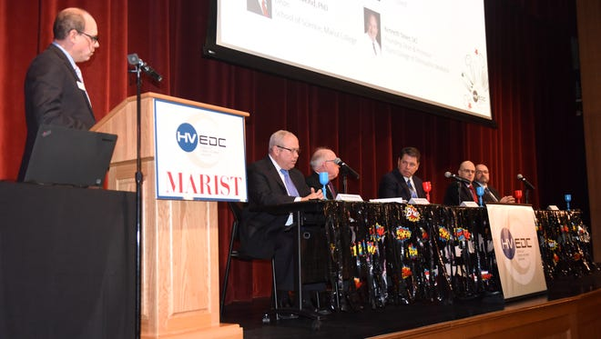 Laurence Gottlieb, president and CEO of Hudson Valley Economic Development Corporation, leads a panel of top experts in the field of health care and higher education at a forum Thursday at Marist College.