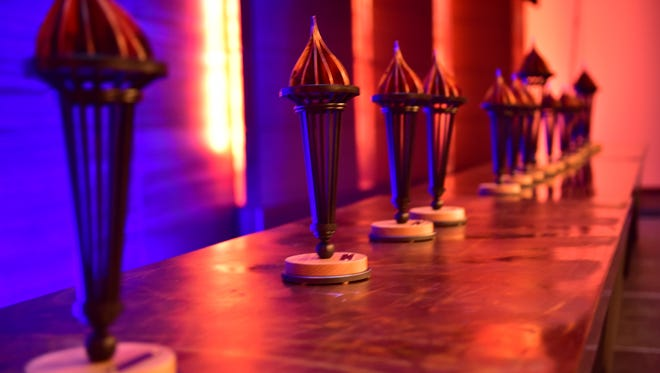 Awards lined up to be handed out during the 2015 Prometheus Awards.