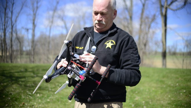 Sheriff Ray Allen of the Grand Isle Sheriff's Department, on Thursday, April 28, 2016,  shows his department's drone, which is used for search and rescue.