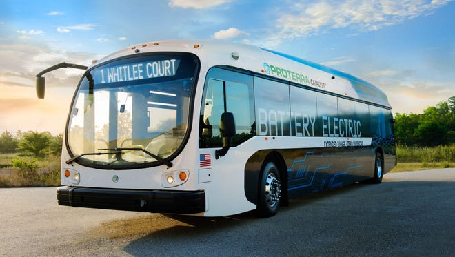 A artists rendition of a battery-powered bus. Delaware's transit agency has won a $2 million grant to purchase six of the buses.