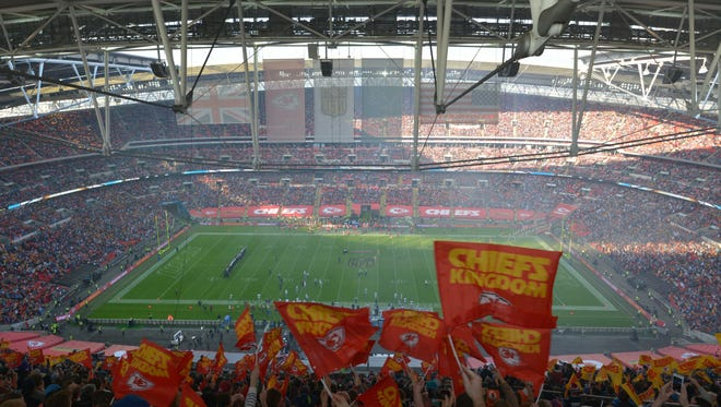 Fans packed an NFL game between the Kansas City Chiefs and Detroit Lions on Nov. 1, 2015, at Wembley Stadium in London. The Colts will face the Jacksonville Jaguars there on Sunday, Oct. 2, 2016.