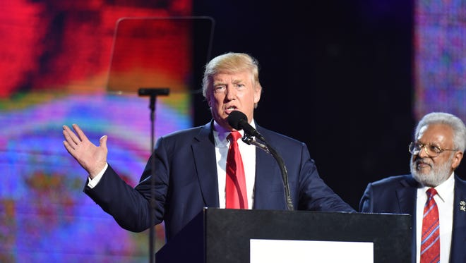 20023648A.10.15.2016.Edison.Trump in NJ: Republican presidential candidate, Donald Trump speaking at the charity event hosted by the Republican Hindu Coalition to benefit victims of terror.  VIOREL FLORESCU/STAFF PHOTOGRAPHER