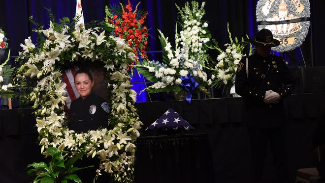 Memorial service for the fallen Palm Springs police officers at the Palm Springs Convention Center on Tuesday, October 18, 2016.