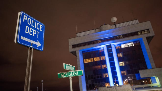 The Municipal Office Building is lit up with blue LED lights Wednesday, March 1, in downtown Port Huron.