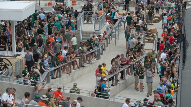 Fans back the New Belgium Porch during a public scrimmage and open house Aug. 5 at CSU's new on-campus football stadium. CSU now plans to add a party porch area to Moby Arena, home to its basketball and volleyball teams.