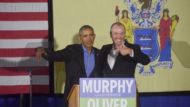Former President Barack Obama campaigns for Phil Murphy, the Democratic nominee for governor, in Newark on Oct. 19.