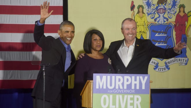 Former President Barack Obama campaigns for Phil Murphy, the Democratic nominee for governor, and running mate Assemblywoman Sheila Oliver in Newark on Thursday.