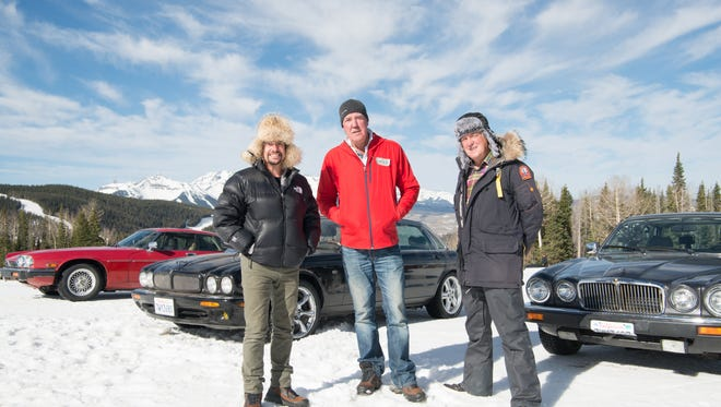 Richard Hammond, Jeremy Clarkson and James May in 'The Grand Tour.'