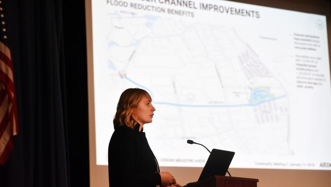 Lulu Loquidis makes her presentation as the New Jersey Department of Environmental Protection (NJDEP) makes a presentation on proposed flood risk reduction measures in the Boroughs of Little Ferry, Moonachie, Carlstadt, and Teterboro and the Township of South Hackensack