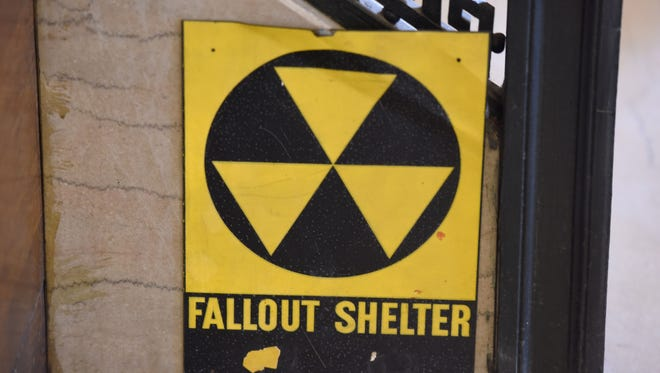 A fallout shelter sign at the Reid Memorial Branch of the Passaic Public Library.