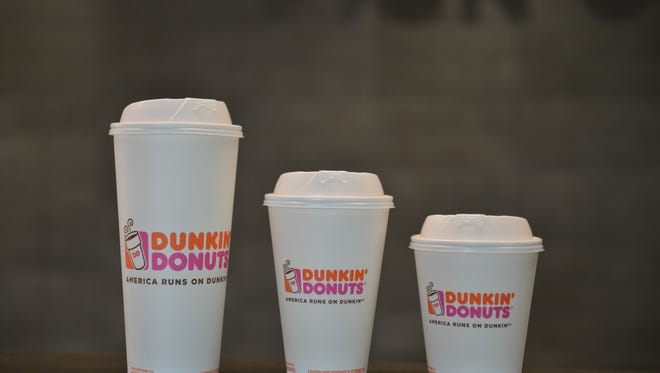 These are the new double-walled paper cups that are replacing polystyrene at Dunkin' Donuts.