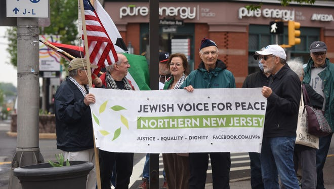 Jewish Voices for Peace of Northern New Jersey holds a protest in Montclair against killings in Gaza.