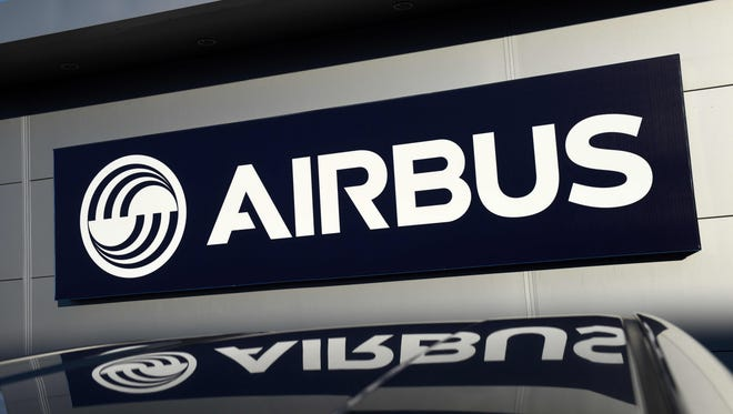This file photo from Dec. 1, 2016, shows the Airbus logo outside the company's wing assembly plant near Broughton in northeast Wales in the United Kingdom.