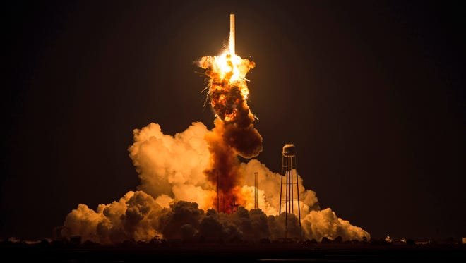 """This image provided by NASA shows the Orbital Sciences Antares rocket  suffering a """"catastrophic anomaly"""" moments after launch Tuesday evening."""