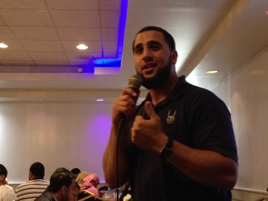 Waleed Gabr, regional manager of Islamic Relief USA, spoke at fundraiser for Palestinian humanitarian aid on Thursday at Shahnawaz Palace in Edison.